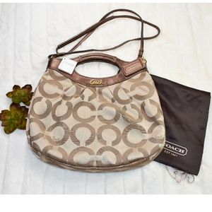 AUTHENTIC COACH PURSE GOLD WITH DUSTBAG NWT